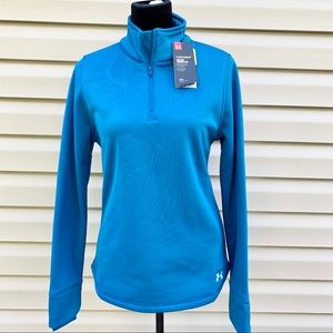 NEW UNDER ARMOUR Blue Fleece 1/2 Zip Storm Jacket